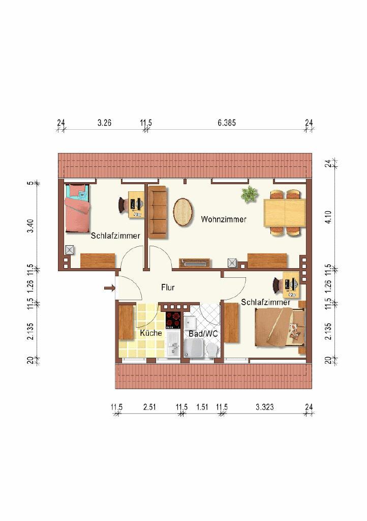 Grundriss (Dachgeschosswohnung, Emden-Port Arthur/Transvaal)