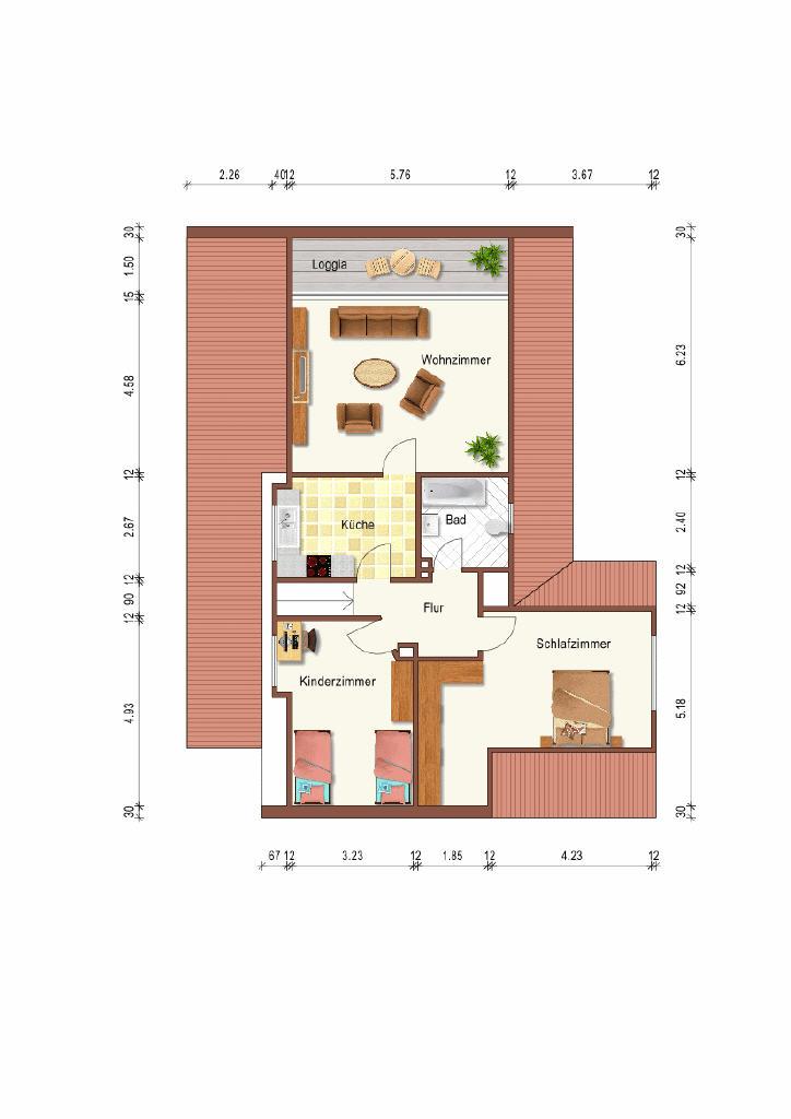 Grundriss DG (1-2 Familienhaus, Lingen)