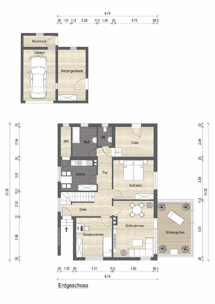 Grundrissskizze Keller (Einfamilienhaus, Hage)